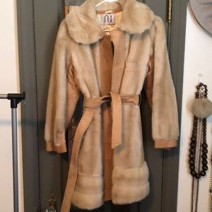 Suede and faux fur coat